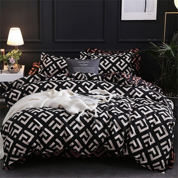 top popular Modern Geometric California King Bedding Sets Sanding Duvet Cover Set Pillowcase Duvet Covers 229*260 3pcs Bed Set 201211 2021