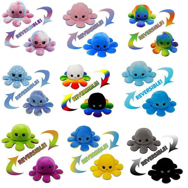 best selling DHL FREE Reversible Flip Octopus Stuffed Plush Doll Soft Simulation Reversible Plush Toy Color Chapter Plush Doll Filled Child Toy 16 Colors