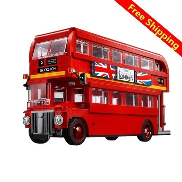 top popular The London Bus Mini Bricks Technic Series Learning Building Blocks Toys For Children Creator Expert vehicle toys free shipping 2020