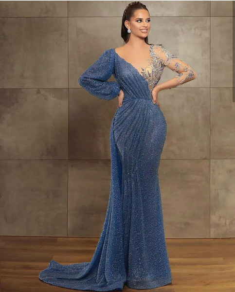top popular 2021 New Blue Evening Dresses Jewel Neck Beaded Sequined Lace Long Sleeve Mermaid Prom Dress Sweep Train Custom Illusion Robes De Soirée 2021