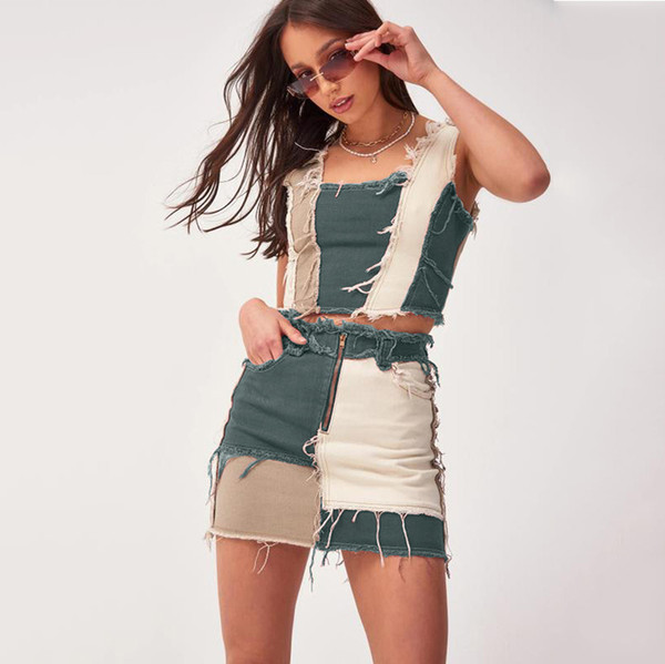best selling Brand New Womens Stretch Denim Skirt Fashion Sexy skinny Hip Skirt Ladies Color Matching Short Dress Size XS-2XL