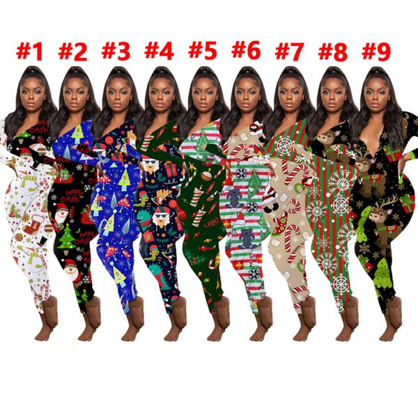 top popular Women Jumpsuit Slim Sexy Halloween Fashion Home Wear Christmas Printed V-neck Long Sleeve Pants Ladies New Tight Rompers 2020 2020