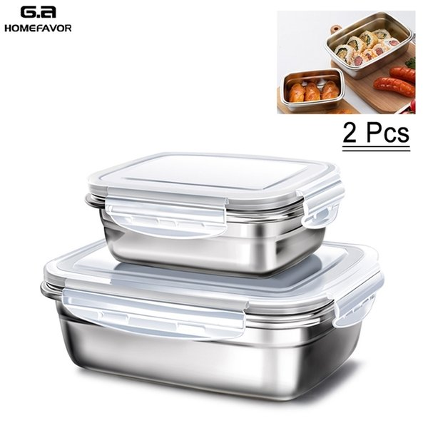 best selling 2 Pcs Lunch Box Kids 304 Top Grade Stainless Steel Food Container Home Custom Bento Box Presevation Fruit Storage Boxes 201210