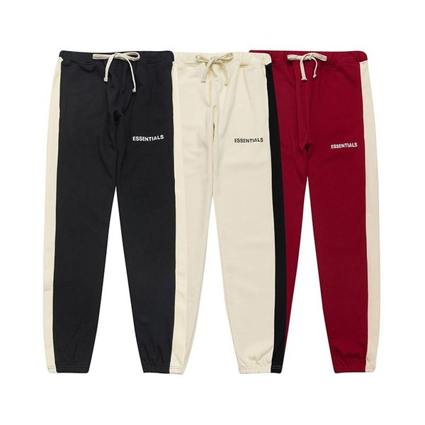 top popular 19SS FOG FEAR OF GOD ESSENTIALS Pants for Mens Drawstring Relaxed Homme man Fashion Loose FG clothes Printed letters Hip Hop Sweatpants 2021
