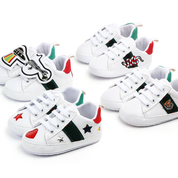 Baby Shoes Newborn Boys Girls Heart Star First Walkers Crib Shoes Kids Lace Up PU Sneakers Prewalker Sneakers