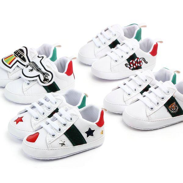 Baby Shoes Newborn Boys Girls Heart Star First Walkers Crib Shoes Kids Lace Up PU Sneakers Prewalker Sneakers