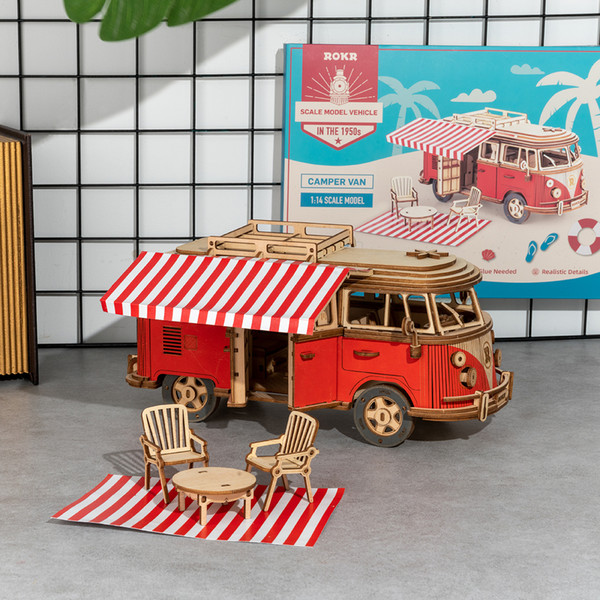 top popular 242pcs DIY 3D Camper Van Wooden Recreational Vehicle Puzzle Game Assembly Car Toy Gift for Children Teens Adult MCB01 2021