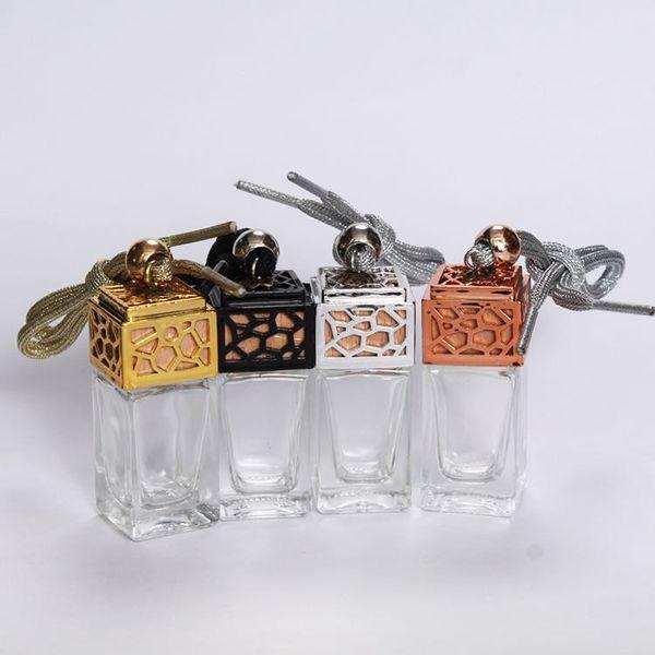 top popular New car accessories perfume bottle 8ml quadrate car glass bottle hanging ornaments 2021