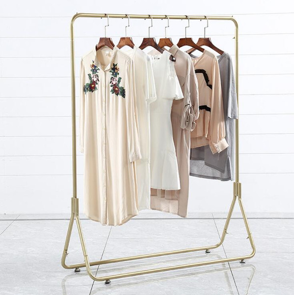 best selling Gold clothing rack clothing display racks floor type women's clothes store combination hanger clothing store display rack