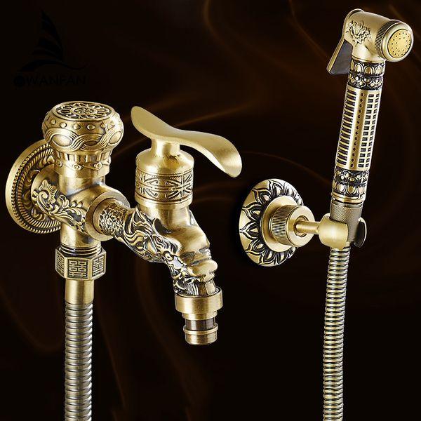 top popular Bidet Faucets Antique Brass Wall Mounted Bathroom Hygienic Shower Sprayer Water Faucet Airbrush Toilet Washing Machine Tap WF556 C0127 2021