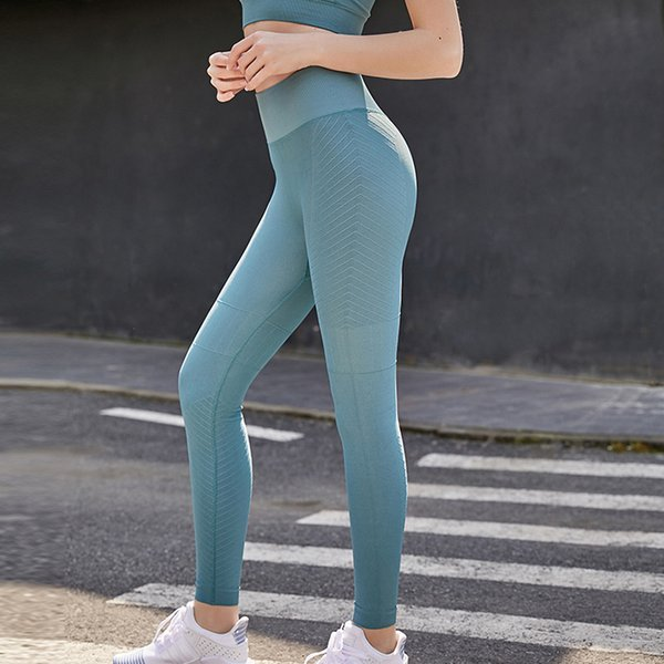 top popular No Embarrassment Line Naked Feeling High Waist Seamless Yoga Pants Women's Sports Tight Running Yoga Suit Hip Lifting Fitness Pants 2021