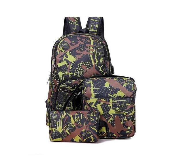 top popular 2021 Hot outdoor bags camouflage travel backpack computer bag Oxford Brake chain middle school student bag many Mix 2021