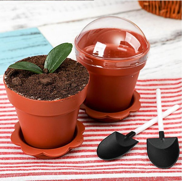 best selling Cake 50 sets Cups Creative Flower Shovel Pot Lid Tiramisu Decor Ice Cream Cup for Wedding Kids Birthday Party