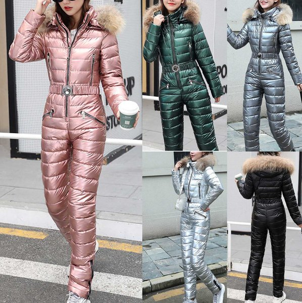 top popular Ski Suit Women Jackets Winter Plush Hooded Parka Jumpsuit Women Cotton bodysuit Sashes Jumpsuits Zipper Overalls Tracksuits 201203 2021