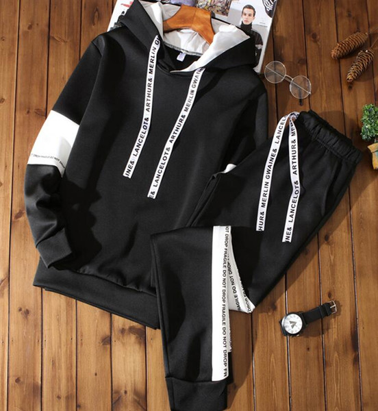 top popular Chinese size Sport Men's hoodie+pants Sets 2 pieces Autumn Running tracksuit Sweatshirt Sports Set Clothes Men Sport Suit men Track Suit 2020