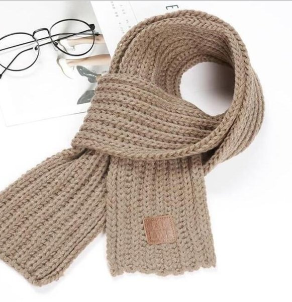 best selling Trendy kids warm wool scarf 2020 new childrens label knitted winter scarf boy and girl baby fashion solid color warm scarf
