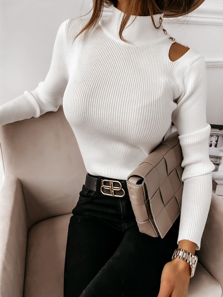 best selling Sexy New Womens Neck Winter Autumn Button Sweaters Long Sleeves Keep Warm Base Undershirt Clothes Size S-2XL