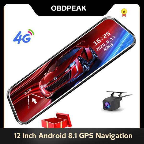 top popular OBDPEAK Car Dvr ADAS Dual 1080P DashCam 4G 12 inch Stream Media Android Mirror Car Rearview Mirror Super Night Rear View Cam 2021