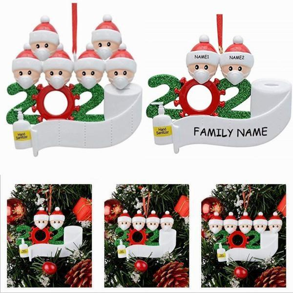 best selling Christmas Tree Decor Quarantine Ornaments Survivor Family of 2 3 4 5 6 7 Face Masks Hand Sanitized Customiz Christm Decorating Creative Toys