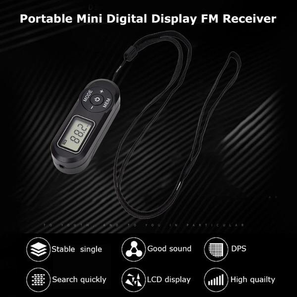 top popular New HRD-727 Portable Mini FM Radio Digital Display FM Receiver Retro MP3 Player Style DSP with Headphones Lanyard 2021
