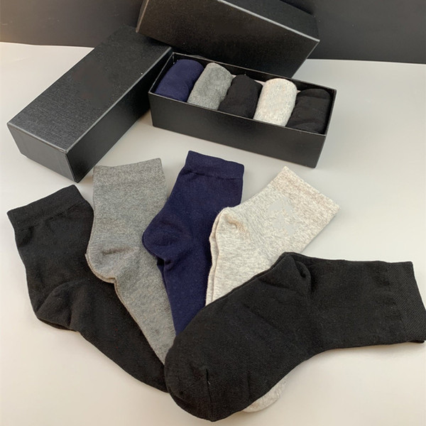 top popular Men's socks new Gentleman's formal socks mid-length wear-resistant soft men's and women's cotton sports garter boutique gift box 5 colors 2021