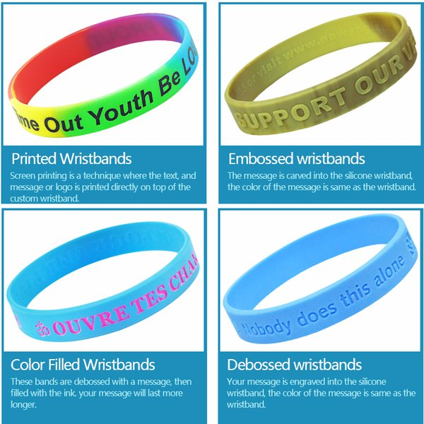 top popular Customized Silicone Bracelets Embossed Wristbands Rubber Band With Colorfilled Color 2020