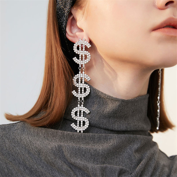 top popular 2021 Hot Sale Fashion Personality Letter Rhinestone Earrings Night Club Party Long Girls Stud Exaggerated High Street Earrings for Gift 2021