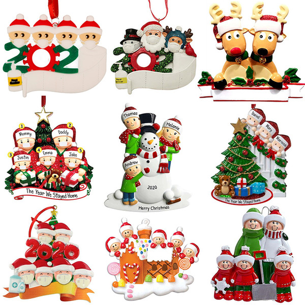 top popular Christmas Personalized Ornaments Survivor Quarantine Family of 2 3 4 5 6 Mask Snowman Hand Sanitized Xmas Decorating Creative Pendant Toys 2020