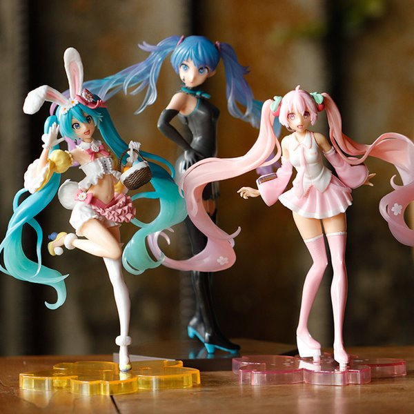 best selling Anime Figureies Miku Hatsune Pink Sakura ghost Miku PVC Action Figures Girls Model Toys Collecting gifts for girls X0121