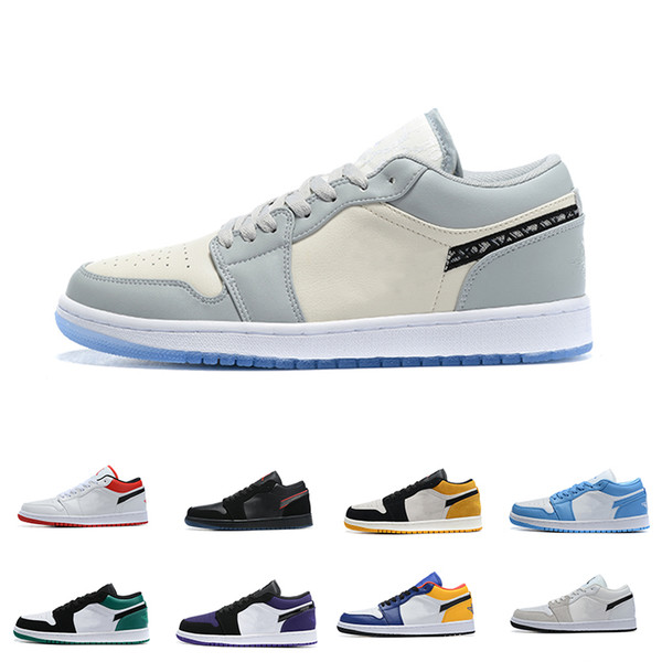 best selling Mens 1 Basketball Shoes Jumpman Low 1s Women Yellow Banned Bred Chicago Black Toe Court Purple Pine Green UNC Sneakers