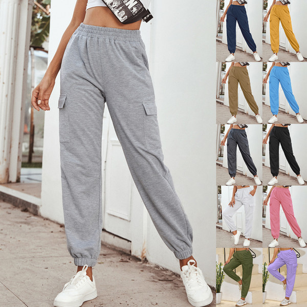top popular Women Clothing Stretch Fabric Super Quality Side Pockets Outdoor Sports Trousers ladies casual clothes New 77 2020