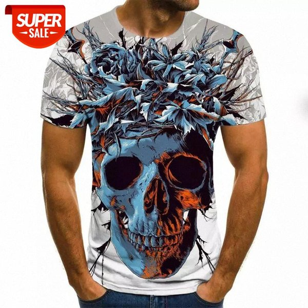 top popular Men clothes 2020 New Mens Summer Skull Print Men Short Sleeve T-shirt 3D print t Shirt Casual Breathable funny t shirts #0X9G 2021