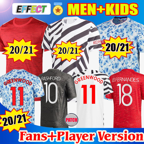 top popular Manchester 2020 2021 POGBA VAN DE BEEK GREENWOOD B.FERNANDES RASHFORD Fouth Soccer Football Jerseys Shirt 20 21 man kids kit Player Version 2021