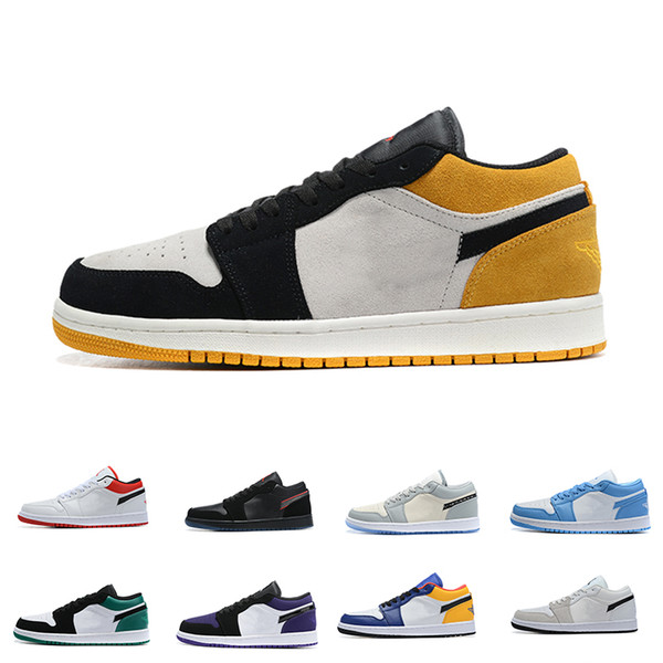 top popular Mens 1 Basketball Shoes Low 1s Womens Blue Moon Red Banned Bred Chicago Black Toe Court Purple Game Royal UNC Shadow Sneakers 2021