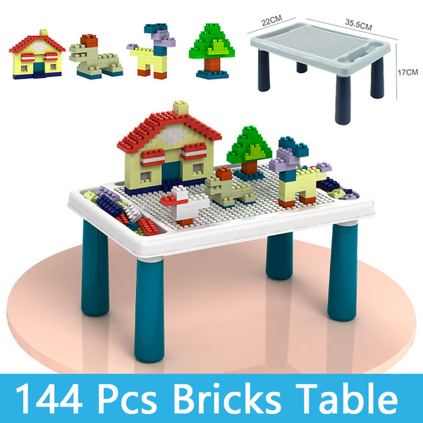 top popular Blocks Table Bricks Table With 144 Pcs Bricks Model Building Kits Classic Compatible DIY Bulk Educational Toys For Children Kids Boy Girl 2021