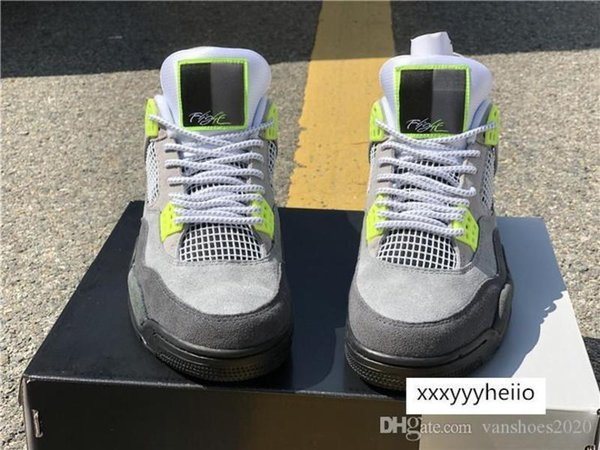 top popular Basketball Shoes Sneakers 4s Neon CT5342-007 Outdoor Athletics Sports Shoes for Men Designer Trainers 95s Size US7-13.5 2021