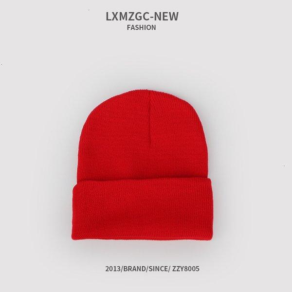 Sombrero de punto fluorescente - rojo brillante