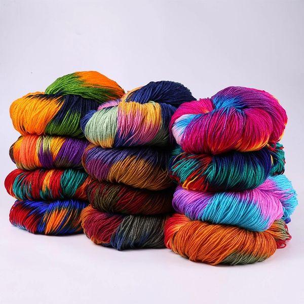 best selling Dyed Flashy Chunky Crochet Yarn Colorful Milk Cotton Yarn Baby Sweaters Knitting Mohair Wool Yarn Crochet Needle Approx 50G