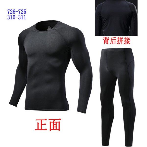Langarmanzug mit schwarzem Matching und schwarzem Faden (dünn)