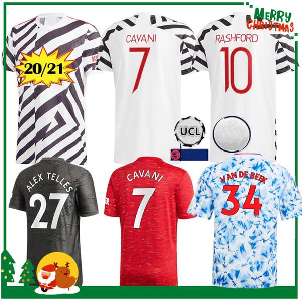 best selling 2020 2021 Manchester CAVANI GREENWOOD POGBA RASHFORD ALEX TELLES home Soccer Jersey 20 21 UNITED Sport football shirt adult men + kids kit