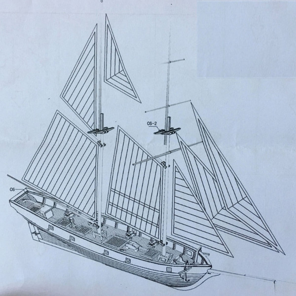top popular 1 100 Scale HALCON 1840 DIY Sailboat Model Kit 400 150 x 300mm Handmade Wooden assembly Sailing Boats Children Toys Gift Y200428 2021