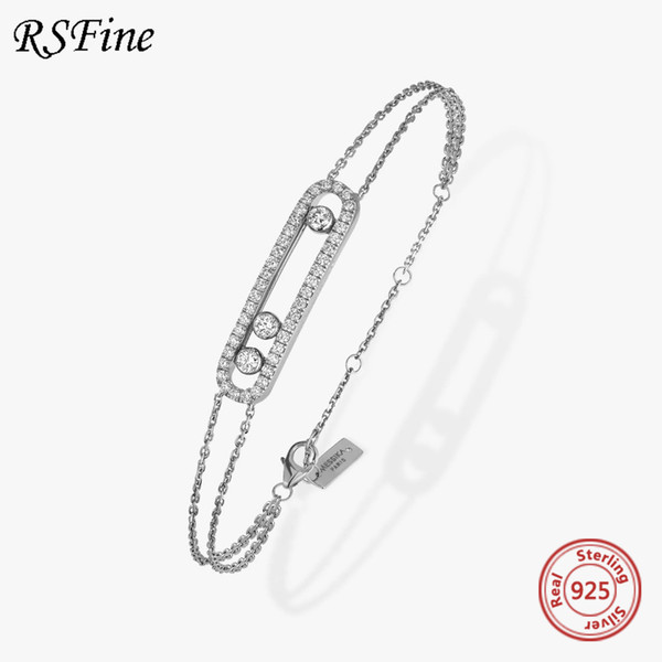 best selling France Real 925 Sterling Silver messika Bracelet With Three Moved Stone Clear CZ For mother Women Fine famous brand Jewelry C0412