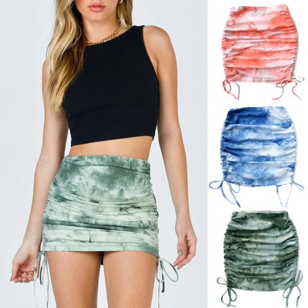 top popular Sexy High Waist Stretch Mini Skirt Tie-dyed Drawstring Wrap Skirts Nightclub Party Women Dress Fashion Clothes Will and Sandy 2021