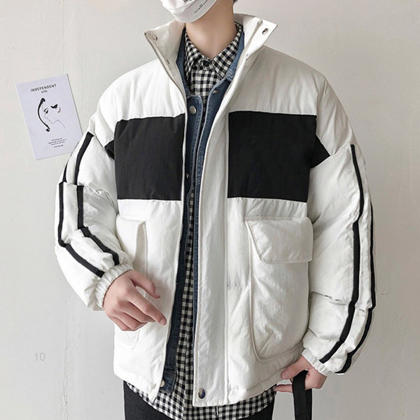 best selling mens jacket Cotton-padded Casual Medium Style Hooded Clothing Contrast Color Mens Cotton Padded Clothes Fashion Zipper Coats
