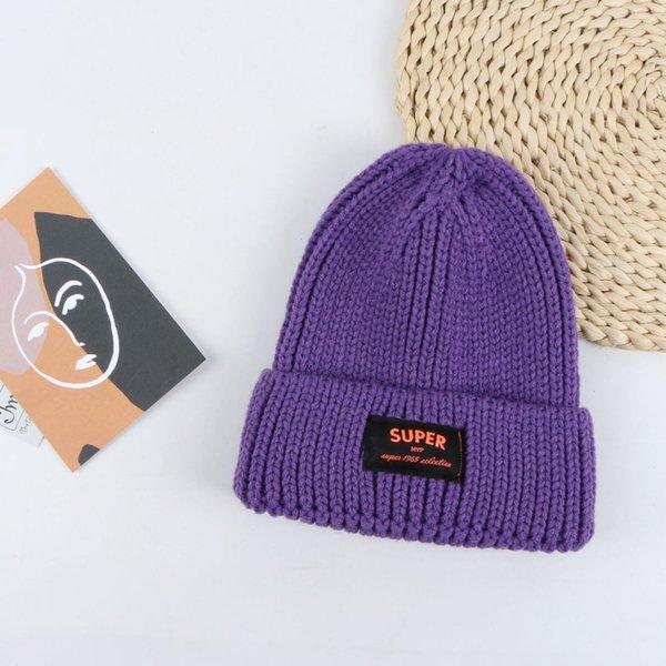 Tapa de lana de etiqueta súper de tela - púrpura