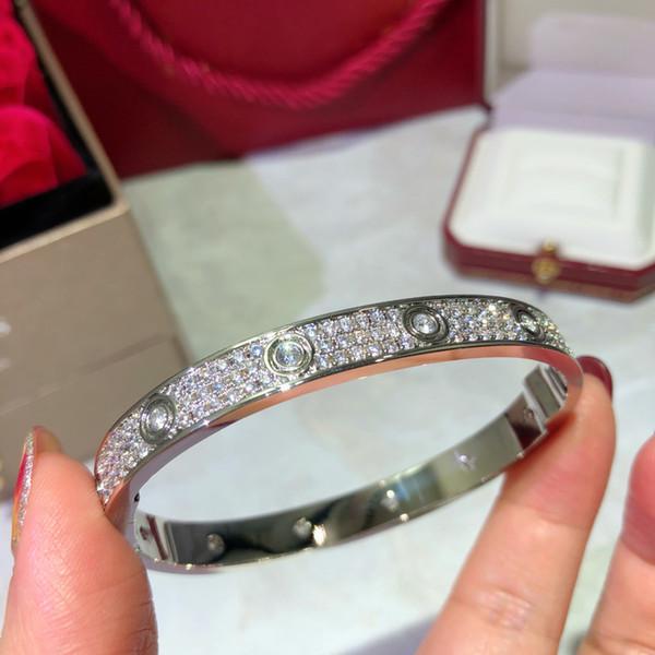 top popular Wedding Engagement Women Bracelet Size 17 Wide Edition Diamond Bangle Bracelet for Banquet Jewelry 3 Colors 2021