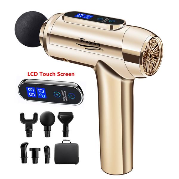 top popular LCD Massage Gun Muscle Relaxation Massager Deep Tissue Electric Massager Fascial Gun For Head Neck Body Massagers 2021