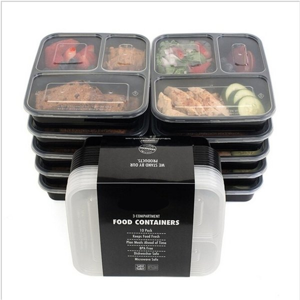best selling 3 Compartment Reusable Plastic Food Storage Containers with Lids, Microwave and Dishwasher Safe, Bento Lunch Box, Set of 5 201210