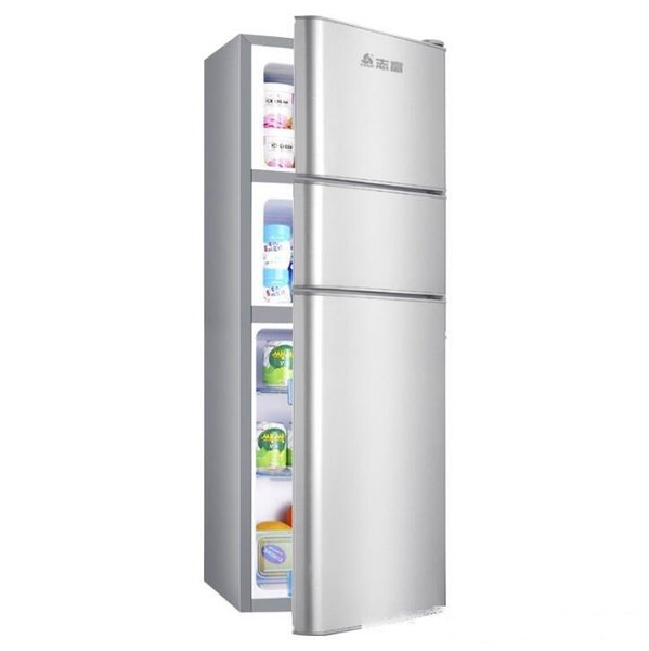 best selling BCD-116S160 liter small refrigerator three-door household refrigerated three-door refrigerator energy saving Color silver gray Opening metho