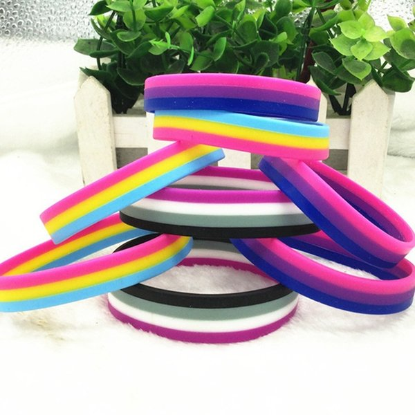 Gay Pride Bisexual Silicone Rubber Bracelets Sports Wrist Band BangleQ1228 Package:1PC Material: Silicone Color:As picture Gender:Unisex